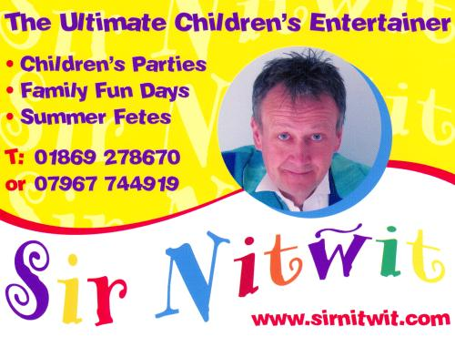 Children's Entertainer Sir NitWit's business card